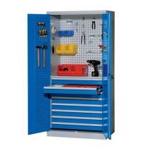 Kovová dílenská skříň s 8 zásuvkami, 195 x 95 x 60 cm, šedá/modrá