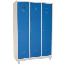 Svařovaná šatní skříň s mezistěnou Manutan DURO PROFI na nohách, 3 oddíly, šedá/modrá, cylindrický zámek