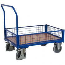 Plošinový vozík s madlem a nízkými mřížovými bočnicemi, do 500 kg, 100,6 x 112,5 x 70 cm