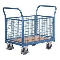 Plošinový vozík se dvěma madly s mřížovou výplní a bočními stěnami, do 400 kg