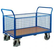 Plošinový vozík se dvěma madly s mřížovou výplní a bočními stěnami, do 500 kg, 100,6 x 139 x 80 cm