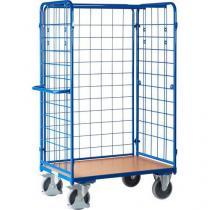 Vysoký policový vozík s madlem a mřížovými bočnicemi, do 500 kg, 1 police, 181,6 x 118,9 x 72,7 cm