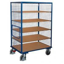 Vysoký skříňový vozík s madlem a mřížovými stěnami, do 500 kg, 5 polic, 180 x 131,5 x 83 cm