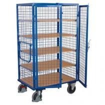 Vysoký uzavíratelný skříňový vozík s madlem a mřížovými stěnami, do 500 kg, 5 polic, 180 x 111,5 x 81 cm