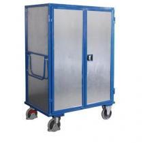 Vysoký skříňový vozík s madlem a 4 plnými stěnami, do 500 kg, 5 polic, 180 x 131,5 x 83 cm