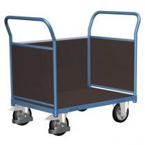 Plošinový vozík se dvěma madly s plnou výplní a boční stěnou, do 1 000 kg, 100,6 x 219,7 x 80 cm