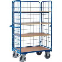 Vysoký policový vozík s madlem a mřížovými bočnicemi, do 500 kg, 4 police, 181,6 x 118,9 x 72,7 cm