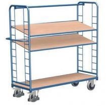 Vysoký policový vozík s madlem a šikmými policemi, do 250 kg, 3 police