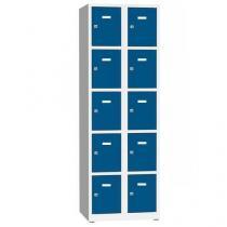 Svařovaná šatní skříň Philip, 10 boxů, cylindrický zámek, šedá/modrá