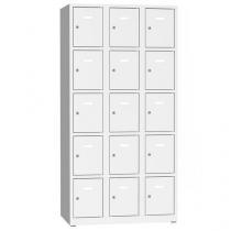 Svařovaná šatní skříň Philip, 15 boxů, cylindrický zámek, šedá/šedá