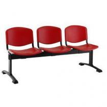 Plastová lavice Ida, třímístná, červená