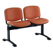 Koženková lavice Ida, dvumístná, oranžová