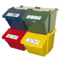 Sada 4 ks plastových odpadkových košů na tříděný odpad, objem 4 x 45 l