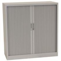 Kovová spisová skříň s roletou, 2 police, 105 x 100 x 45,7 cm, šedá