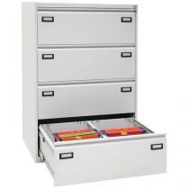 Dvouřadá kovová kartotéka A4 Ribble, 4 zásuvky, světle šedá