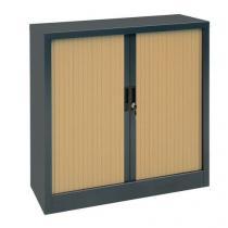 Kovová spisová skříň s roletou, 2 police, 105 x 100 x 45 cm, antracit/buk