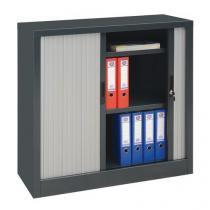 Kovová spisová skříň s roletou, 2 police, 105 x 100 x 45 cm, antracit/stříbrná