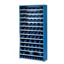 Kovový regál s děliči, 198 x 100 x 20 cm, 12 polic, modrý