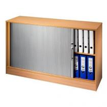 Nízká široká skříň Nomeris, 74,8 x 120 x 40 cm, s roletou - levé provedení, dezén buk