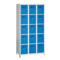 Svařovaná šatní skříň Eric odlehčená, 15 boxů, na nožkách, cylindrický zámek, šedá/sv.modrá