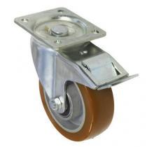 Polyuretanové transportní kolo s přírubou, průměr 125 mm, otočné s brzdou, valivé ložisko