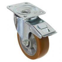 Polyuretanové transportní kolo s přírubou, průměr 160 mm, otočné s brzdou, valivé ložisko