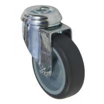 Gumové přístrojové kolo se středovým otvorem, průměr 75 mm, otočné, kluzné ložisko