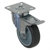 Gumové přístrojové kolo s přírubou, průměr 75 mm, otočné s brzdou, kluzné ložisko
