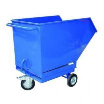 Pojízdný výklopný kontejner s kapsami pro vysokozdvižný vozík, objem 600 l, modrý