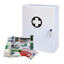 Plastová nástěnná lékárnička, uzamykatelná, 42 x 31 x 15 cm, s náplní VÝROBA