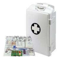 Plastová přenosná nástěnná lékárnička, uzamykatelná, 43 x 28 x 14 cm, s náplní KANCELÁŘ