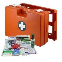 Plastový kufr první pomoci se stěnovým držákem, 33,8 x 44,3 x 14,7 cm, s náplní SKLAD