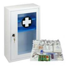 Kovová nástěnná lékárnička s transparentními dvířky, uzamykatelná, 46 x 30 x 14 cm, s náplní KANCELÁŘ