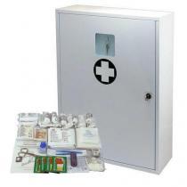 Kovová nástěnná lékárnička, uzamykatelná, 60 x 45 x 16 cm, s náplní KANCELÁŘ