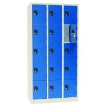 Svařovaná šatní skříň Manutan Pierre, 15 boxů, cylindrický zámek, šedá/modrá