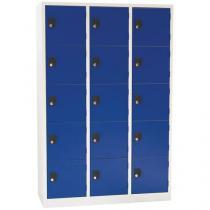 Svařovaná šatní skříň Manutan Mike, 15 boxů, cylindrický zámek, šedá/modrá
