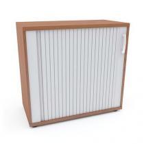 Nízká široká skříň Abonent, 75 x 80 x 40 cm, s roletou - levé provedení, dezén třešeň Oxford