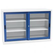 Kovová dílenská skříň Manutan, 100 x 150 x 65 cm, šedá/modrá
