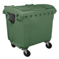 Plastová venkovní popelnice Manutan, objem 1 100 l, zelená