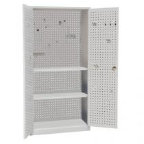 Kovová dílenská skříň Manutan, 195 x 100 x 45 cm, šedá/šedá