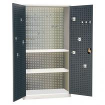 Kovová dílenská skříň Manutan, 195 x 100 x 45 cm, šedá/antracit