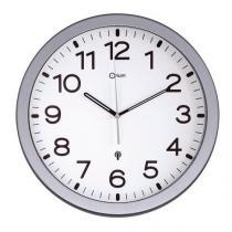 Analogové hodiny RS3 Manutan, autonomní DCF, průměr 30 cm, šedé