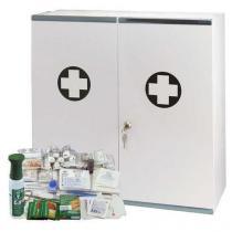 Velkoobjemová kovová nástěnná lékárnička, uzamykatelná, 53 x 53 x 19 cm, s náplní SKLAD