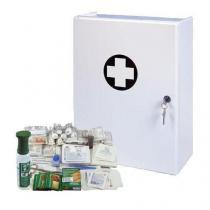 Plastová nástěnná lékárnička, uzamykatelná, 42 x 31 x 15 cm, s náplní SKLAD