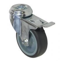 Gumové přístrojové kolo se středovým otvorem, průměr 75 mm, otočné s brzdou, kluzné ložisko