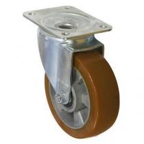 Polyuretanové transportní kolo s přírubou, průměr 160 mm, otočné, valivé ložisko