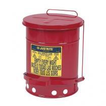Kovový odpadkový koš pro hořlavé a nebezpečné látky, objem 34 l, červený