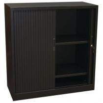 Kovová spisová skříň  s roletou, 2 police, 105 x 100 x 45 cm, černá