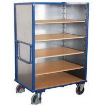 Vysoký skříňový vozík s madlem a 3 plnými stěnami, do 500 kg, 5 polic, 180 x 111,5 x 73 cm
