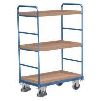 Vysoký policový vozík do 250 kg, 3 police s vyvýšenými hranami, 106 x 60 x 153 cm
